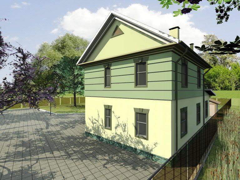 """Фасад двухэтажного загородного дома """"Комфорт"""""""