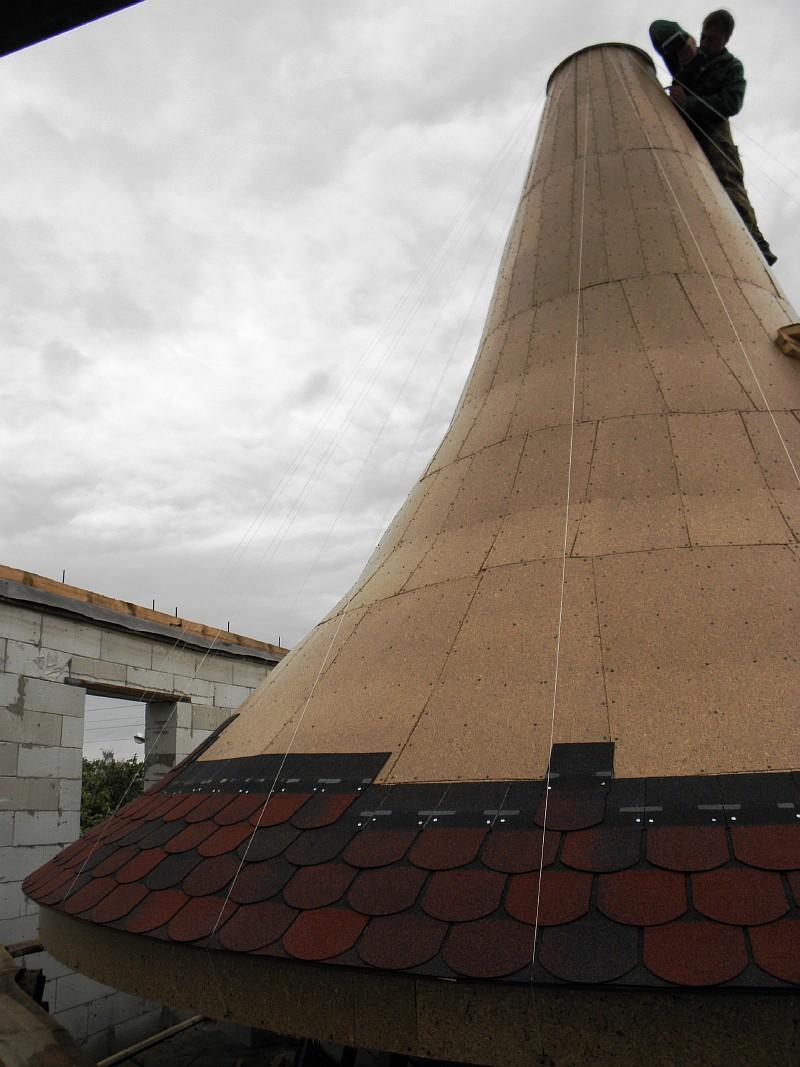 Фото 9 Укладка битумной черепицы на куполе