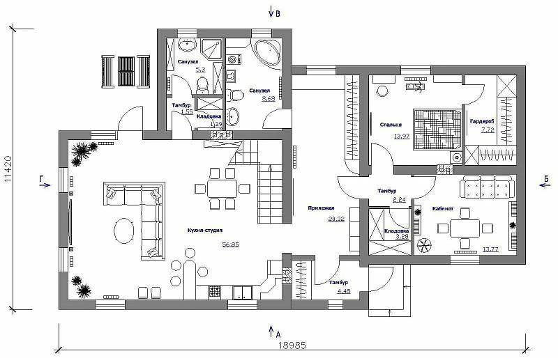 """План 1-ого этажа одно-двухэтажного жилого дома """"Элин"""""""