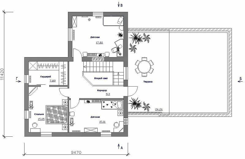 """План 2-ого этажа одно-двухэтажного загородного дома """"Элин"""""""