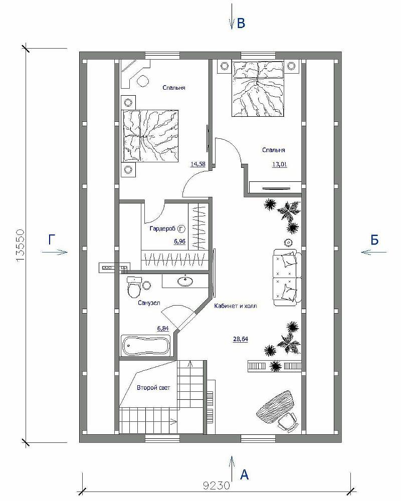 План 2-ого этажа двухэтажного жилого дома