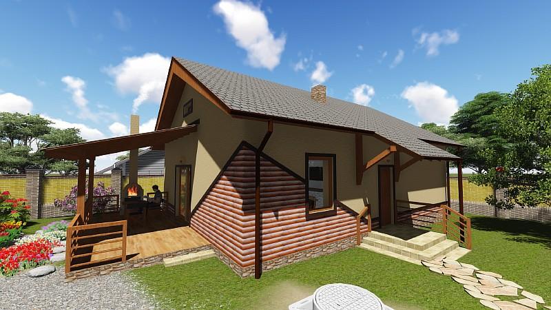 Визуализация одноэтажного дома Бюджетный-1