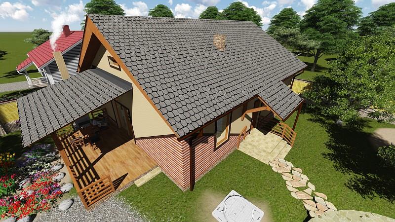 Проект дачного дома из бруса 6х6 с мансардой - Дачный