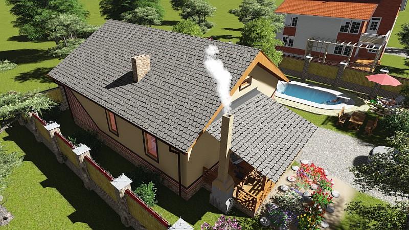 """Проект одноэтажного дома """"Бюджетный-1"""" - визуализация"""