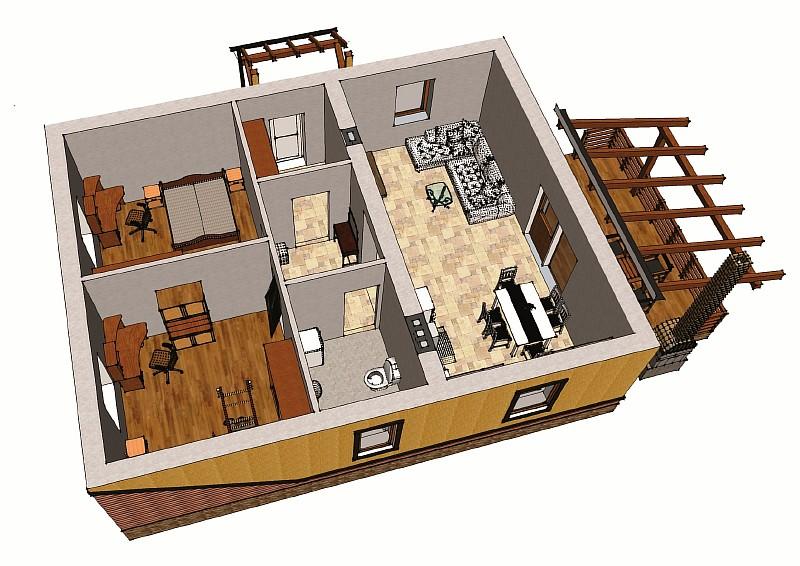 """Визуализация одноэтажного жилого дома """"Бюджетный-1"""""""