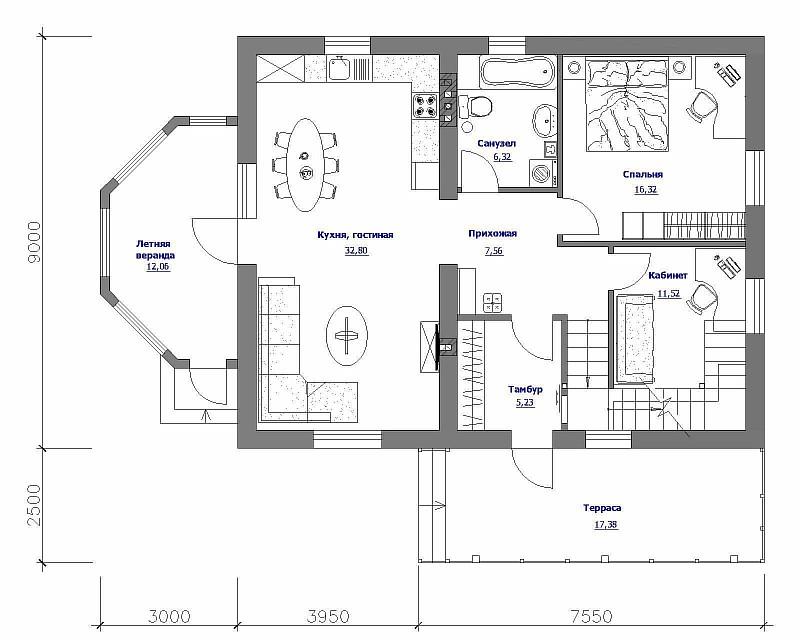 """План первого этажа загородного дома """"Бюджетный-2"""""""