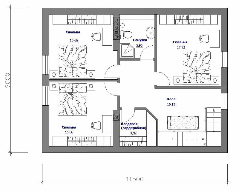 """План 2-ого этажа двухэтажного загородного дома """"Бюджетный-2"""""""