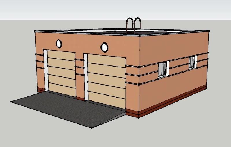 Визуализация проекта гаража на два автомобиля