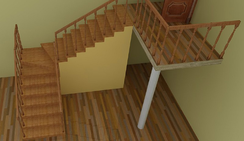 Лестница с забежными ступенями - визуализация