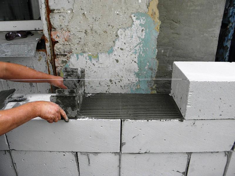 Подготовка к укладке газобетонного блока