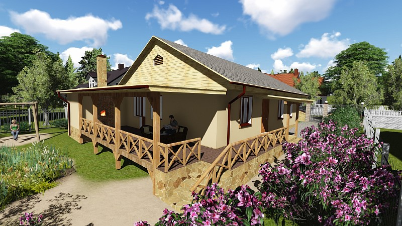 """Одноэтажный загородный дом - """"Дом в саду"""""""