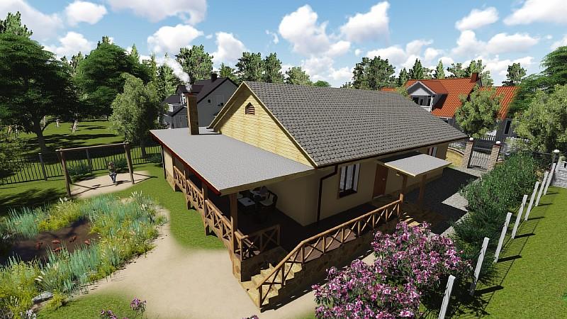 """Одноэтажный проект дома - """"Дом в саду"""" - визуализация"""
