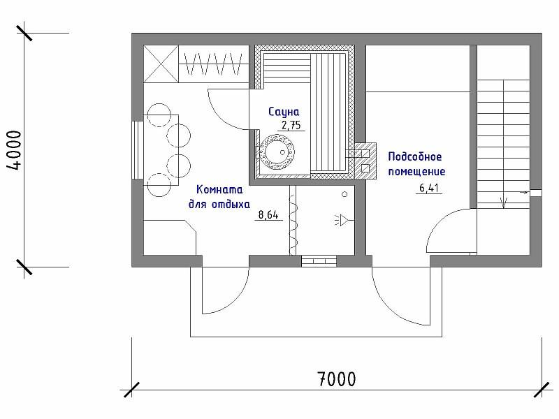 План хозпостройки с сауной, комнатой для отдыха, подсобным помещением и подвалом