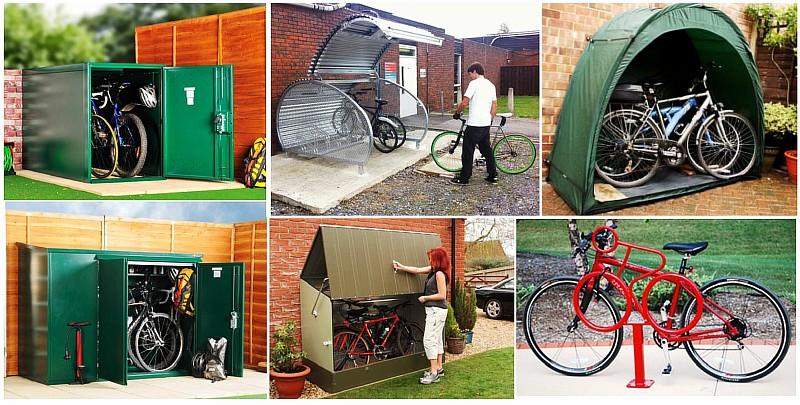 Фото 1 Велопарковки различной конструкции вблизи жилого дома