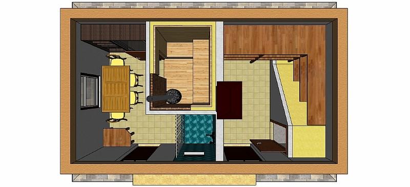 Вид сверху - размещение помещений с оборудованием и мебелью