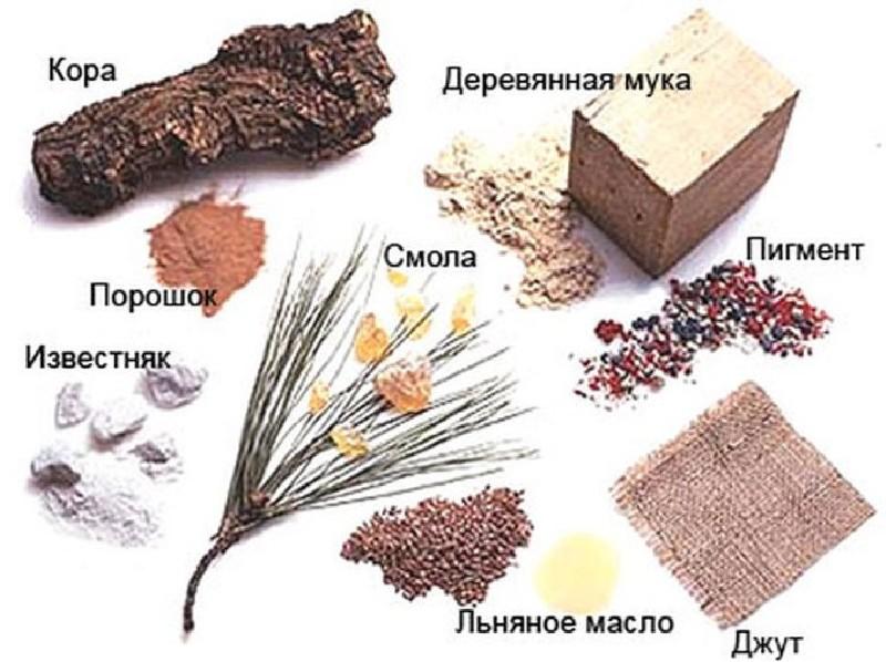 Рис. 1 Основные компоненты натурального линолеума