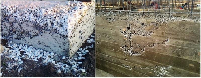 Фото 4. Дефекты бетонных и железобетонных конструкций из-за недостаточного уплотнения бетонной смеси
