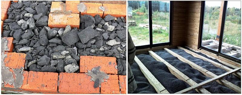 Фото 5. Применение пеностекольной крошки для утепления стен и полов