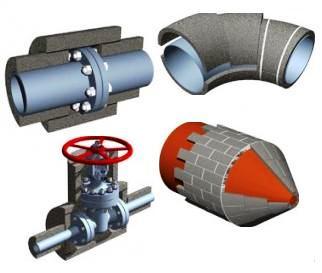 Фото 6. Теплоизоляционный материал из пеностекла для утепления трубопроводов и его деталей