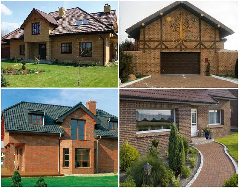 Фото 1. Примеры домов построенных с использованием клинкерного кирпича
