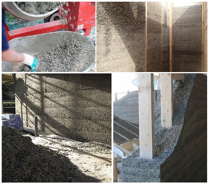 Фото 2. Приготовление костробетона и возведение стен из этого материала