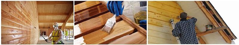 Фото 3. Обработка древесины антисептиками и средствами борьбы с древоточцем