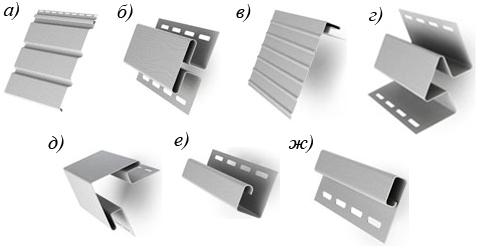 Фото 3. Элементы сайдинга, необходимые для устройства софита кровли