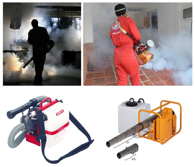 Фото 5. Процесс фумигации и оборудование – генераторы горячего или холодного тумана