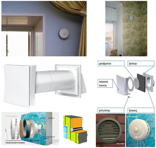 Фото 6. Внешний вид и устройство приточных стеновых клапанов с регулировкой интенсивности подачи воздуха