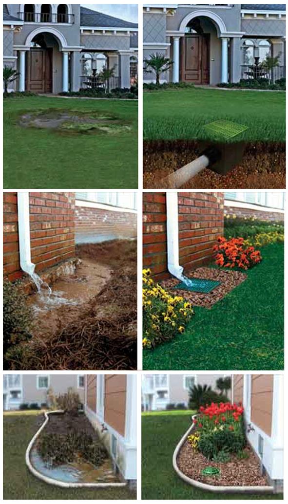 Примеры участков домов с дренажной системой и без нее