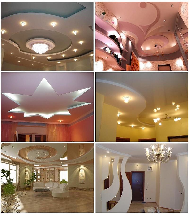 Фото 2. Примеры применения гипсокартонных листов для отделки стен и потолков
