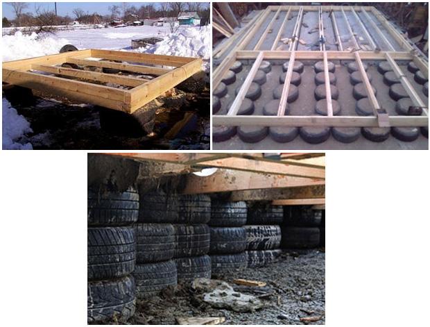 Установка деревянных балок на фундамент из покрышек