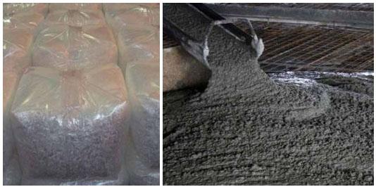 Полимерная фибра в упаковке (слева) и при укладке с бетоном на строительной площадке