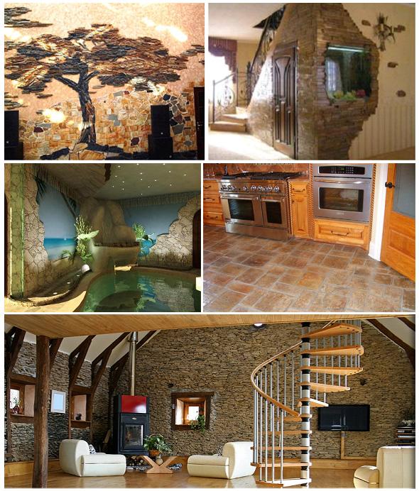 Отделка внутренних объектов помещения с помощью песчаника