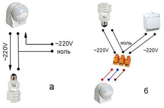 Самые простые схемы подключения датчика движения