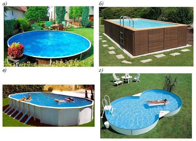 Примеры сборно-разборных бассейнов разной формы