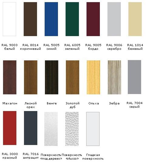 Варианты фактуры и цвета раздвижных ворот