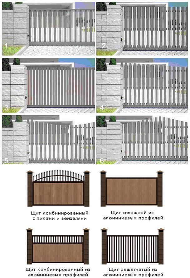 Разная геометрическая форма заполнителей для въездных ворот