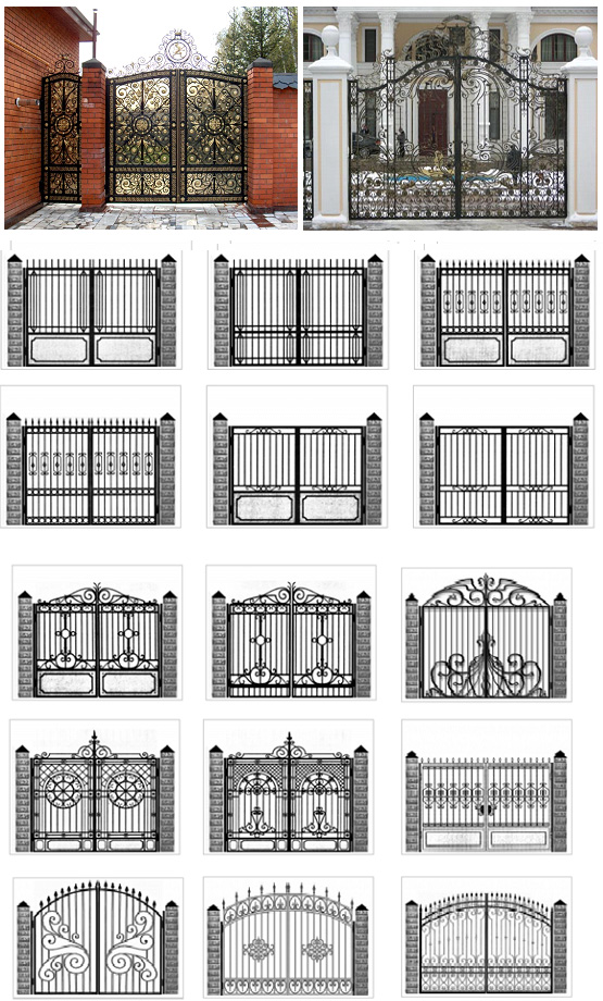 Варианты въездных ворот с элементами ковки