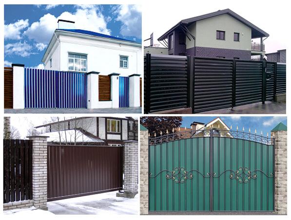 Ворота с заполнителем из стальных или алюминиевых профильных листов