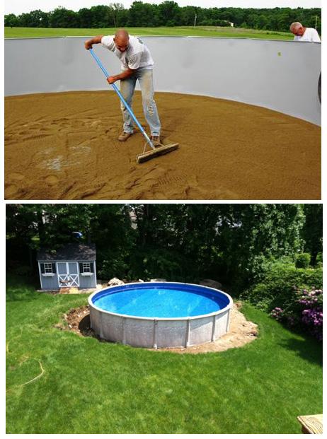 Выравнивающая песчаная подушка для установки сборно-разборного бассейна