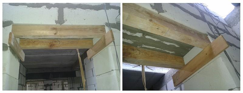 Опалубка из деревянного бруса для выполнения армированной перемычки