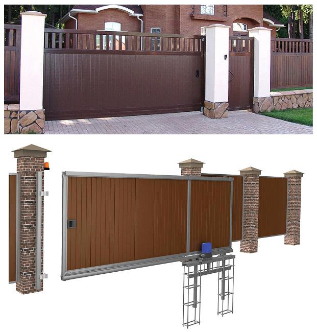 Общий вид откатной системы въездных ворот