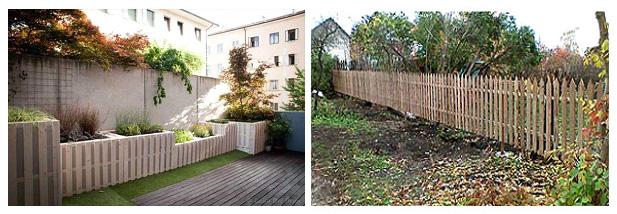Устройство заборов во дворе (слева) или в огороде (справа) из
