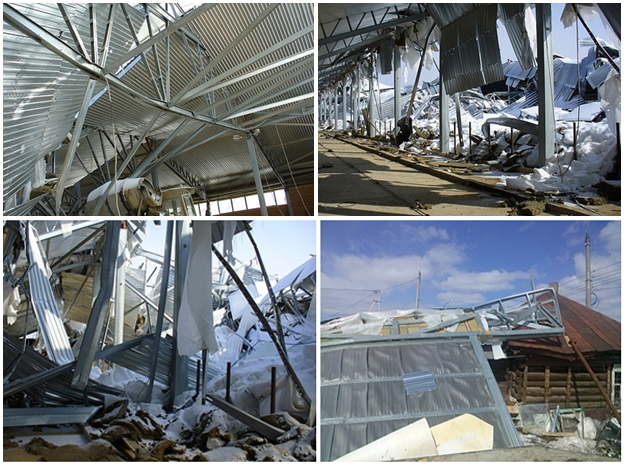 Разрушение конструкции из ЛСТК вследствие пренебрежения технологии сборки