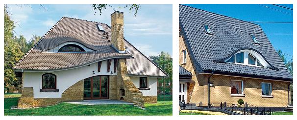 Пример домов с люкарной