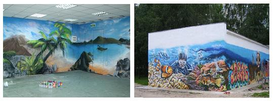 Пример создания граффити на двух стенах