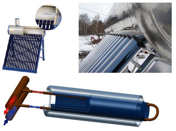 Вакуумный коллектор с прямой теплопередачей воде (термосифонная система)
