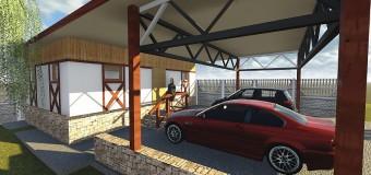 Проект хозблока с навесом для двух автомобилей «Приусадебный»