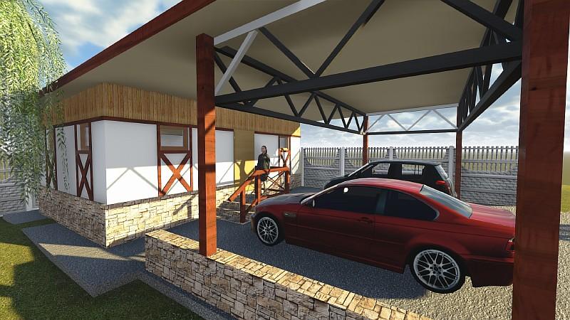Визуализация проекта хозблока с навесом под два автомобиля